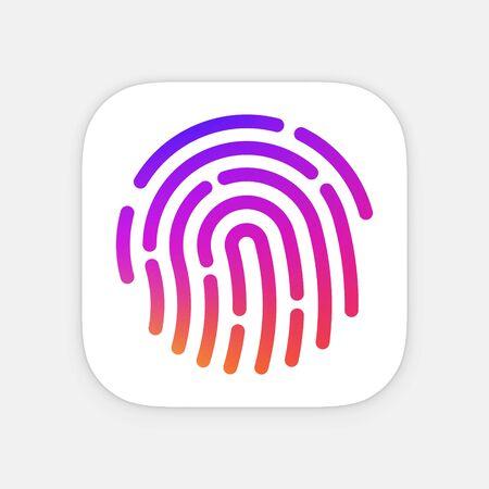ID App icon template. Fingerprint vector illustration.