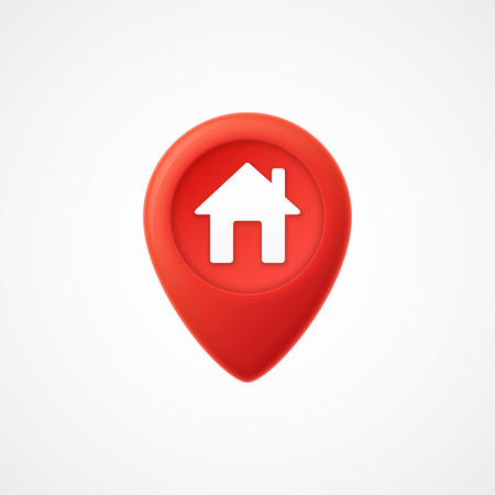3d Map pointer with home icon. Map Markers.