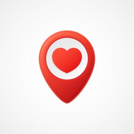 position d amour: 3d Carte pointeur avec coeur icône. Marqueurs de map. Illustration