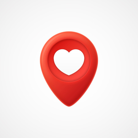 3d Map pointer with heart icon. Map Markers.