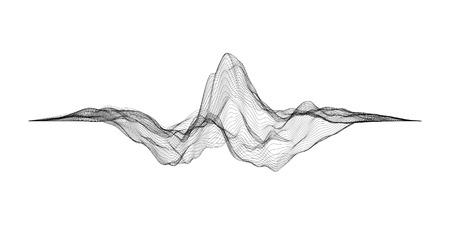 Futuristic grid. Music sound waves set. Audio digital equalizer technology, pulse musical.