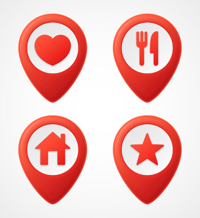 3d Map pointer icons. Map Markers set.