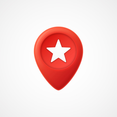 3d Map pointer with star icon. Map Markers. illustration