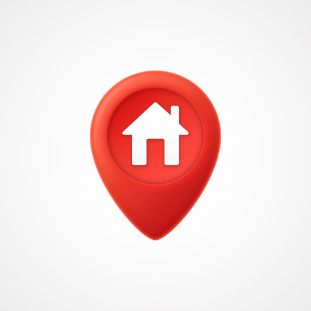 3d Map pointer with home icon. Map Markers. illustration Illustration