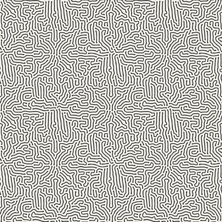 diffusion: Diffusion reaction seamless pattern. Black and white organic shapes, lines pattern. Abstract Background illustration