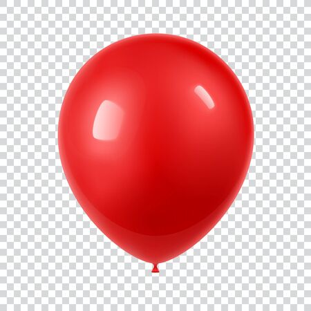 3d Realistic Colorful Balloon. Holiday illustration of flying glossy balloon. Isolated on white Background. Vector Illustration  イラスト・ベクター素材