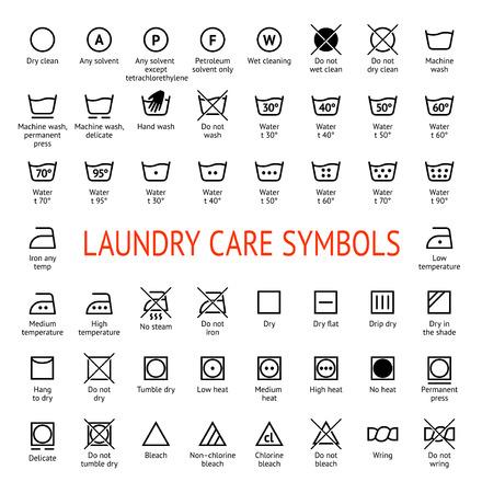 Laundry Care Symbols Cleaning Icons Set Washing Instruction Vector