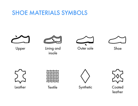 Schuhe Materialien Symbole. Schuhe etikettiert Schuheigenschaften Glyphenvektorsymbole. Vektorgrafik