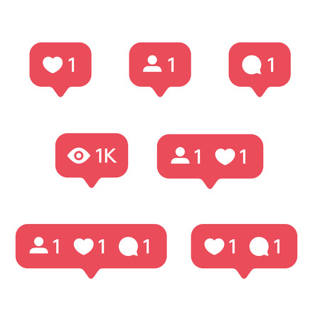 Red Heart like, new message bubble, friend request quantity number notifications icons templates. Social network app icons. Stok Fotoğraf - 101620231