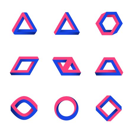 Set of impossible shapes. Web design elements. Optical Illusion. Line design. Vector illustration EPS 10