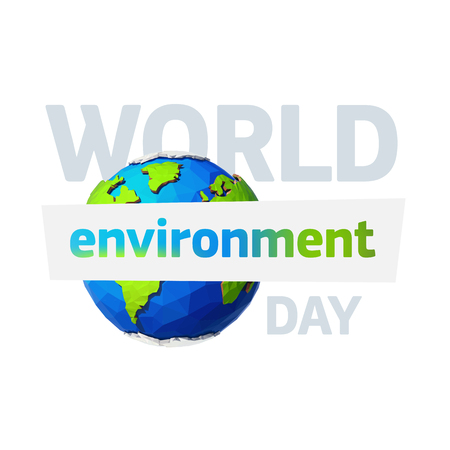 World environment day. Earth day banner. Low poly Illustration of a earth. Environment safety celebration.