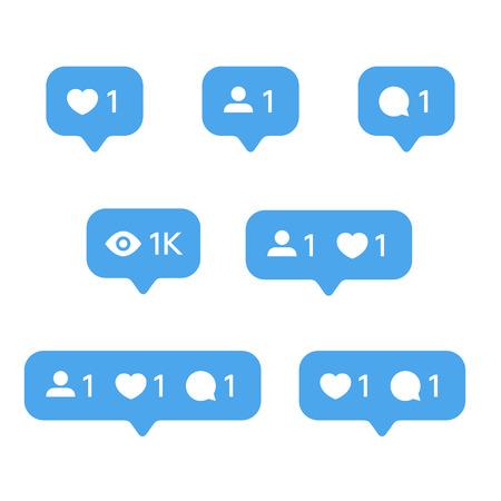 Red Heart like, nuevo mensaje burbuja, solicitud de amistad cantidad número notificaciones plantillas de iconos. Iconos de aplicaciones de redes sociales.