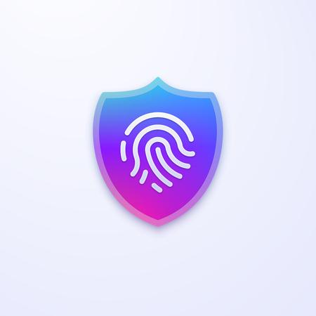 Security shield vector icon. Fingerprint identification vector icon. Fingerprint password. Fingerprint scan.
