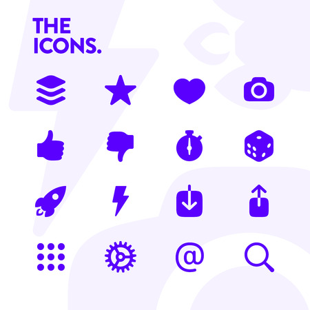 Basic icons set, vector. 48x48 Pixel Perfect. Editable Stroke. Contains such Icons as settings, camera, timer, share, download, email, rocket, finger updown and others.