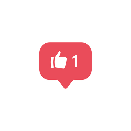 Red Finger up, new message bubble, quantity number notifications icons templates. Social network app icons.