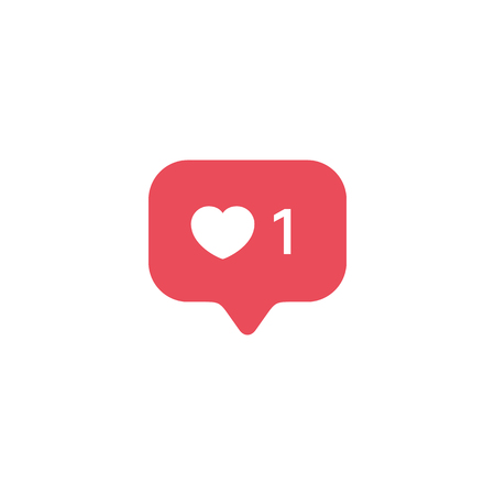 Red Heart like, new message bubble, quantity number notifications icons templates. Social network app icons.