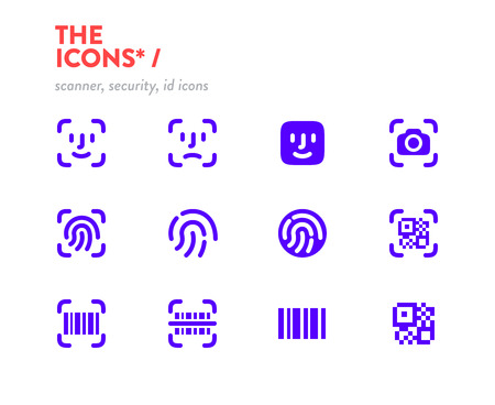 Scanners icons set, vector. 48x48 Pixel Perfect. Editable Stroke. Security, id scanners icons