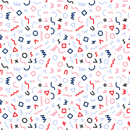 Memphis style seamless pattern. Abstract vector illustration with geometric elements, shapes.