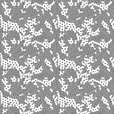 Diffusion reaction vector seamless pattern. Black and white organic shapes, lines pattern. Abstract Background illustration 向量圖像