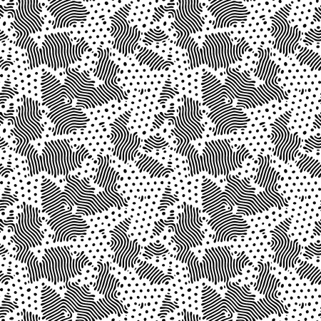 Diffusion reaction vector seamless pattern. Black and white organic shapes, lines pattern. Abstract Background illustration 版權商用圖片 - 124517454