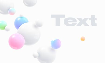 Floating soft colored spheres. Dynamic motion balls, particles wallpaper. Abstract cover design background with 3d geometric shapes. Ads banner template.