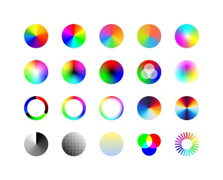 Set of Color wheels palette. RGB, RYB, CYMK system. Color theory infographics layout palette. Color harmony. Red Blue Yellow.