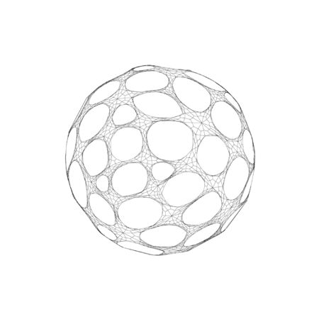 Wireframe mesh objects. Network line, HUD design sphere. Abstract 3d object. Isolated on white background 版權商用圖片 - 132016027