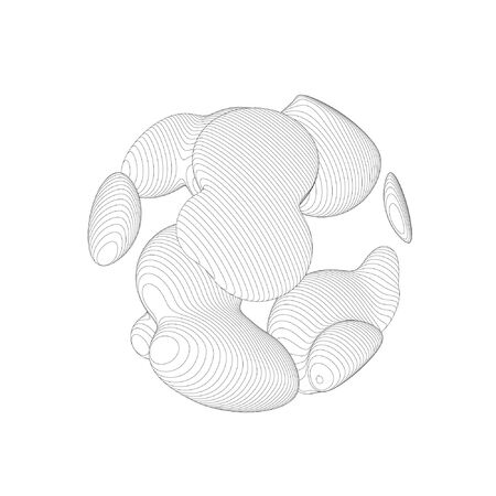 Wireframe mesh objects. Network line, HUD design sphere. Abstract 3d object. Isolated on white background 版權商用圖片 - 132016045