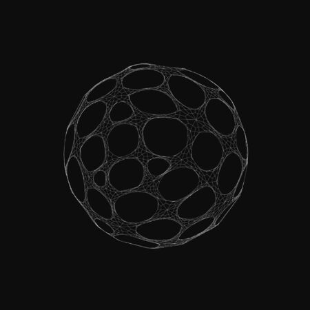 Wireframe mesh objects. Network line, HUD design sphere. Abstract 3d object. Isolated on white background 向量圖像