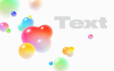 Floating soft colored spheres. Dynamic motion balls, particles wallpaper. Abstract cover design background with 3d geometric shapes. Ads banner template. Vector 向量圖像