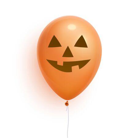 Helloween balloon, 3d realistic. Lantern jack face on balloon. Isolated on white Background. Vector Illustration