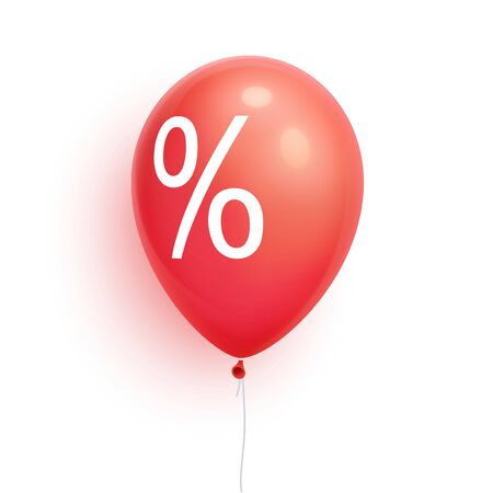 3d sale Balloon with percent. Discount, promoti, price off ballon.  Isolated on white Background. Vector Illustration 版權商用圖片 - 131265006