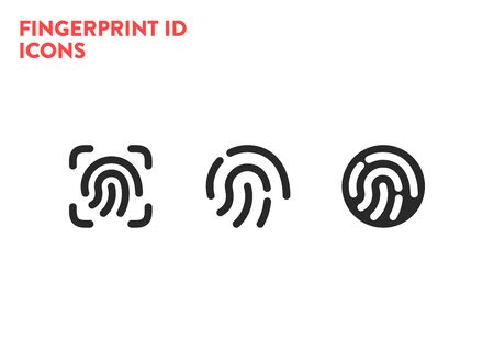 Id icons. Fingerprint scanning process icons. Fingerprint detection symbols. Vector illustration on white background