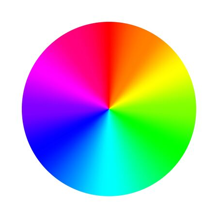 Tavolozza della ruota dei colori. Sistema RGB, RYB, CYMK. Armonia dei colori. Illustrazione di vettore.