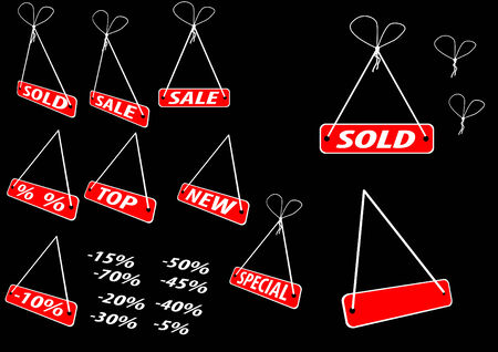 Set of red advertising tags; clip-art Vector
