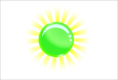 Green glassy ball with light behind; clip-art Vector