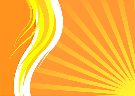 Energetic summer card with waves and sunrays; clip-art Vector