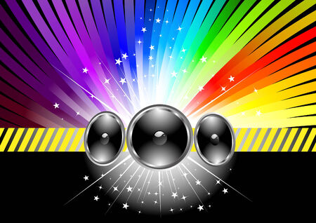 Discotheque banner template with rainbow. Vector
