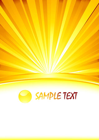 abstract sunny banner with glass sphere. Vector