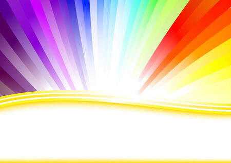 Card with colorful rainbow.  Vector