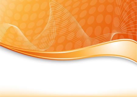 Orange card with wave. Vector illustration Illustration