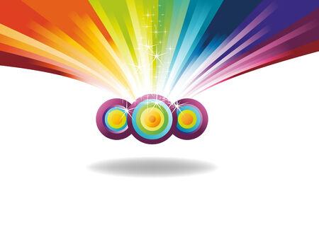 rainbow banner with sparks. Vector illustration Illustration
