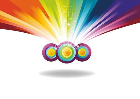 rainbow banner with sparks. Vector illustration Illustration