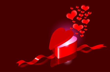 Hearts as a present. Vector illustration Vector