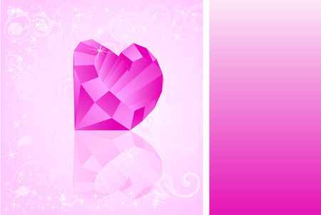 Card with diamond which has shape of heart. Vector illustration