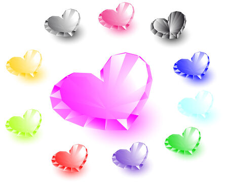 Collection of heart-shaped diamonds. Vector illustration Vector