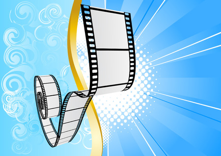 Blue background with film. Vector illustration