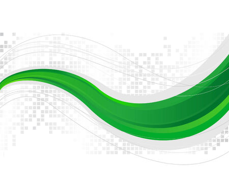 Green wave - template. Vector illustration