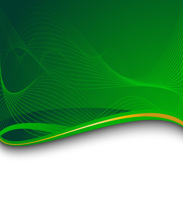 green banner with green wave. Vector illustration