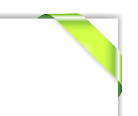 corner flag: Card with green ribbon; clip-art